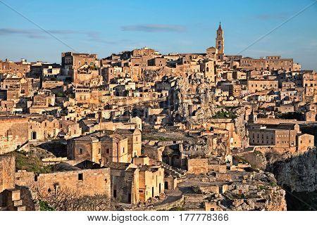 Matera, Basilicata, Italy: landscape at sunrise of the old town (sassi di Matera), European Capital of Culture 2019
