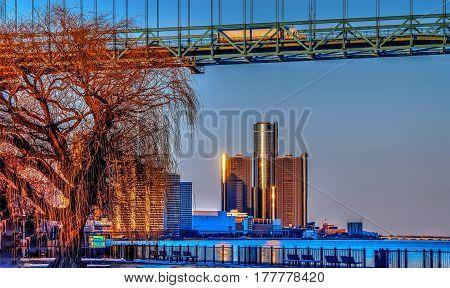 Detroit River Front Bridge