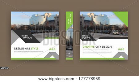 Abstract composition. White brochure cover design. Info banner frame. Text font. Title sheet model set. Modern vector front page. City view texture. Green triangle figures image icon. Ad flyer