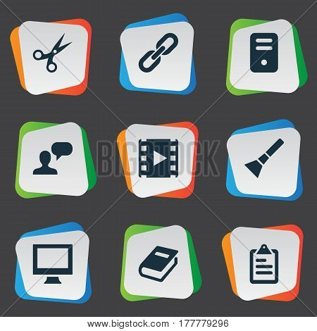 Vector Illustration Set Of Simple Web Icons. Elements Assessment, System Unit, Chain And Other Synonyms Plan, Appliance And Device.