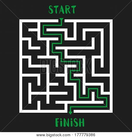 Maze Game with solution. Labyrinth with Entry and Exit. Vector Illustration.