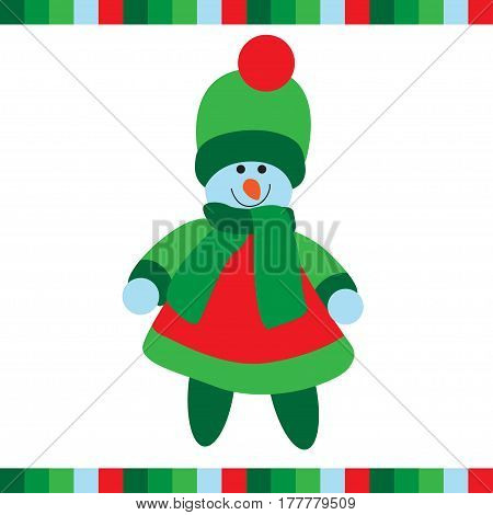 Cute snowgirl on white background. Vector illustration