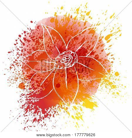 Hand drawn flowers on watercolor spots and splashes vector illustration