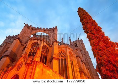 Urban streets scenes and historic architecture Cathedral of Saint Just and Saint Pasteur low angle point of view under night light Narbonne France.