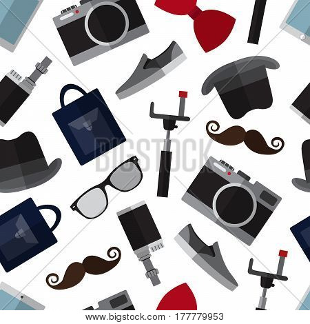 Seamless pattern background with simple hipster accessory flat icons on white background vector illustration