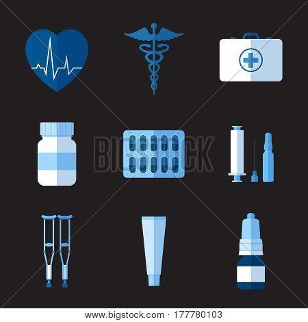 Set of simple monochrome medicine flat icons on grey background vector illustration