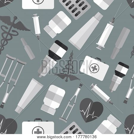 Seamless pattern background with simple monochrome medicine flat icons vector illustration
