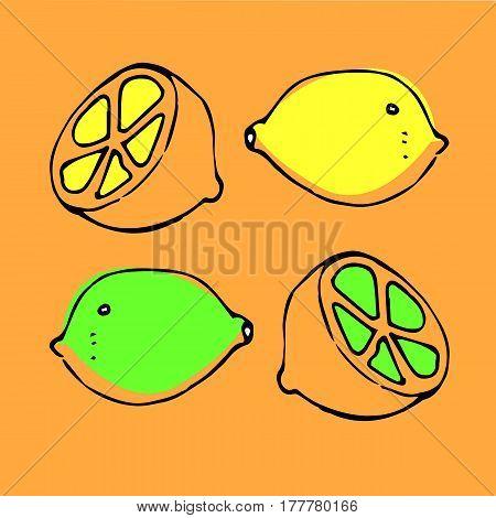fruit vitamin food lemon vector citrus natural