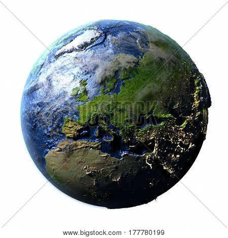 Europe On Earth Isolated On White