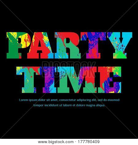 PARTY TIME banner design with colorful spots and splashes. Label, blots, logo for sale vector illustration