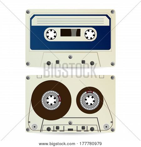 Retro Audio Cassette Vector. Vintage Classic Audio