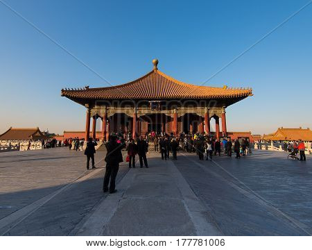 Beijing, China - Circa November 2014 - A shot of The Hall of Central Harmony in Forbidden City, Beijing, China