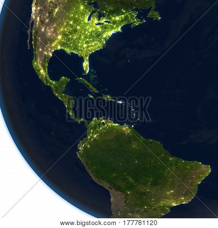 Central America At Night On Planet Earth