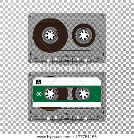 Retro Audio Cassette Vector. Realistic Vector Cassette On Transparent Background