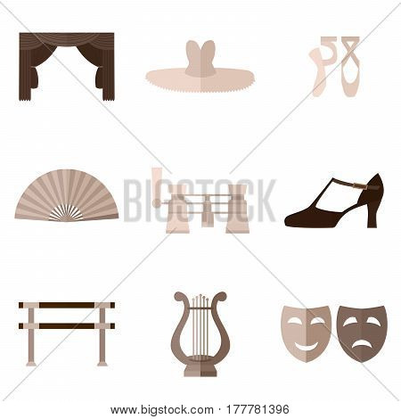 Set of simple beige theater and ballet symbols flat icons on white background vector illustration
