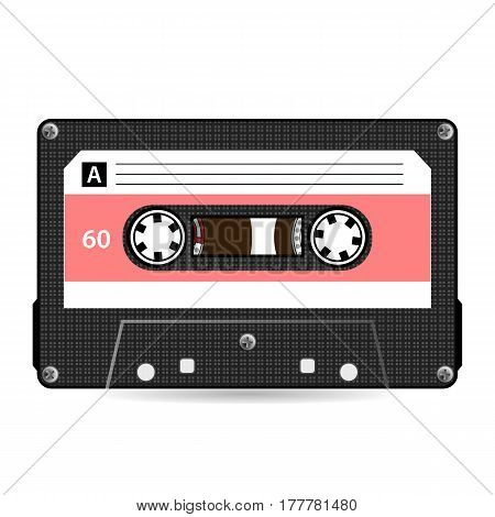 Retro Audio Cassette Vector. Plastic Audio Cassette Tape. Old Technology, Realistic Design Illustration. Isolated On White