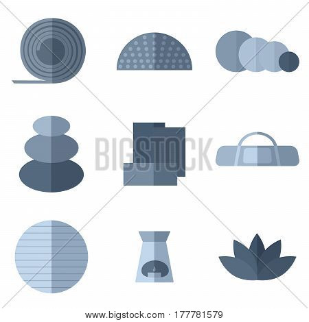 Set of simple monochrome yoga equipment flat icons on white background vector illustration