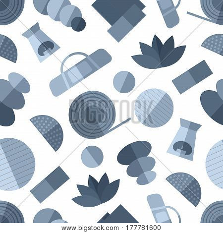Seamless pattern background with  simple mono yoga equipment flat icons on white background vector illustration