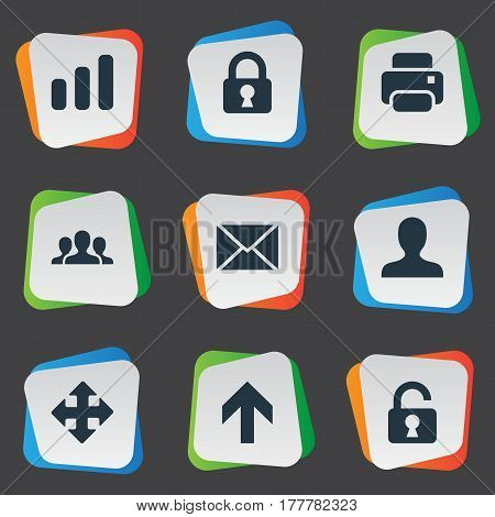 Vector Illustration Set Of Simple Application Icons. Elements Statistics, Upward Direction, Message And Other Synonyms Extend, Closed And Lock.
