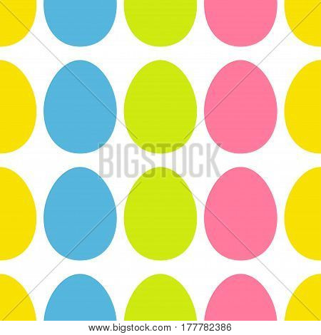 Happy Easter painting egg Painted shell set. Bright Color Seamless Line Pattern Wrapping paper textile template. White background. Flat design. Vector illustration.