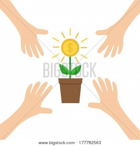 Four Hands arms reaching to Growing money tree big shining coin with dollar sign Plant in the pot. Financial growth concept. Successful business icon. Flat design. White background. Isolated. Vector