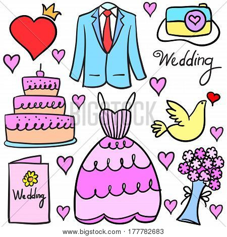 Collection stock of wedding element doodles vector art