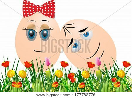 Easter theme with two eggs and flowers