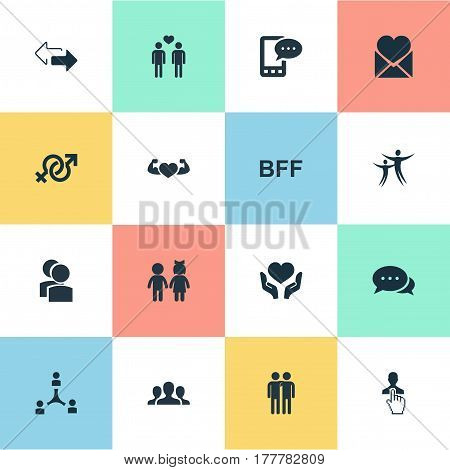 Vector Illustration Set Of Simple  Icons. Elements Bodybuilding, Talk, Cooperation And Other Synonyms Collaboration, Hand And Discrepancy.