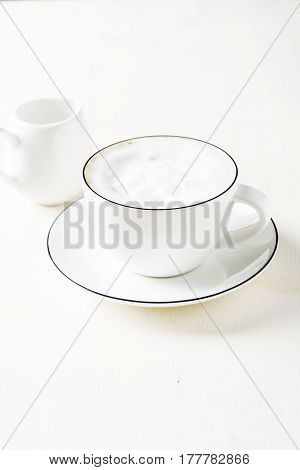 Italian Homemade Espresso Coffee In A White Mug. Light Backgroun
