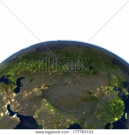 Central Asia At Night On Planet Earth