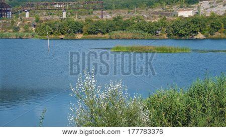 A beautiful lake near the quarry. Crimea.
