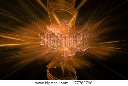 Bright orange flash in the form of an explosion between contacts on a black background