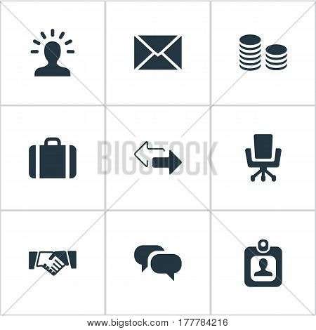 Vector Illustration Set Of Simple Commerce Icons. Elements Direction, Chatting, Hard Money And Other Synonyms Talking, Portfolio And Chair.