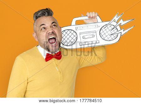 Caucasian Man Holding Radio Stereo