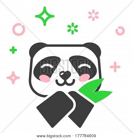 Panda line icon. Panda with bamboo. Bamboo bear chinese bear logotype. Thin linear logo.