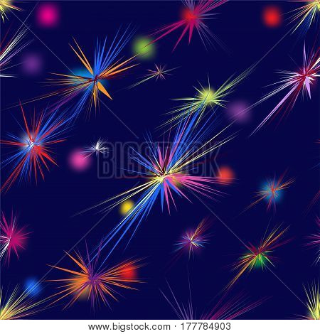 Rainbow seamless pattern with stylized firework on blue background