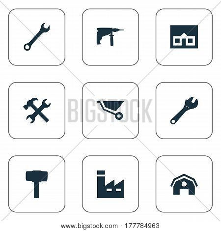 Vector Illustration Set Of Simple Axe Icons. Elements Cart, Workshop, Spanner And Other Synonyms Farmhouse, Wrench And Mechanical.