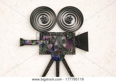 3D illustration of paper swirl movie camera