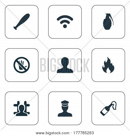 Vector Illustration Set Of Simple Offense Icons. Elements Arrested, Explode, Sheriff And Other Synonyms Justice, Bottle And Prohibited.