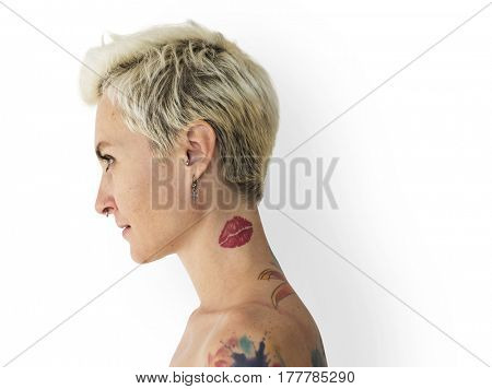Blonde tattooed Woman Isolated Portrait