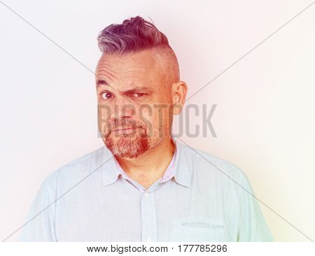 Man Squint Eye Curious Suspicious Squinting