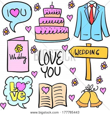 Collection of wedding stock in doodles vector flat