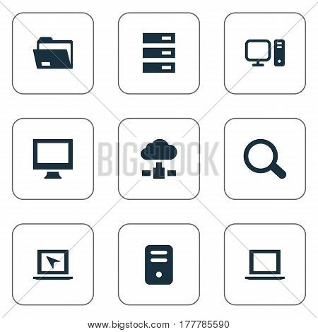 Vector Illustration Set Of Simple Computer Icons. Elements Computer, Memory, Laptop And Other Synonyms Seek, Processor And Station.