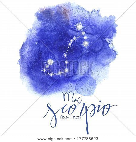 Astrology sign Scorpio on blue watercolor background with modern lettering. Zodiac constellation with  shiny star shapes. Part of zodiacal system and ancient calendar. Hand drawn horoscope illustration. Part of big collection