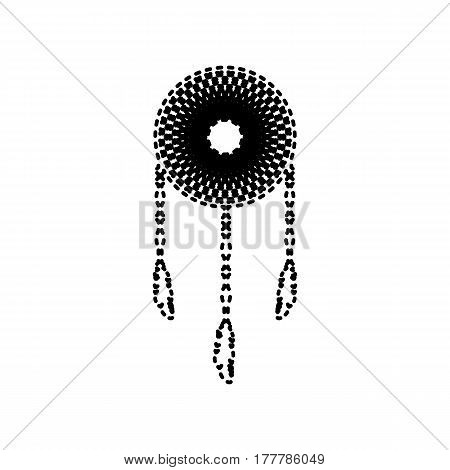 Dream catcher sign. Vector. Black dashed icon on white background. Isolated.