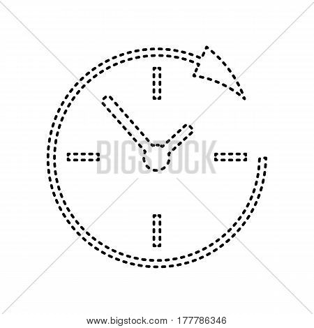 Service and support for customers around the clock and 24 hours. Vector. Black dashed icon on white background. Isolated.