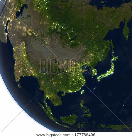 East Asia At Night On Planet Earth