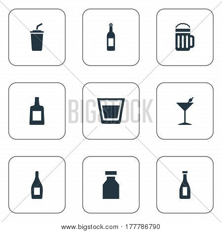 Vector Illustration Set Of Simple Water Icons. Elements Ketchup, Vial, Liquor And Other Synonyms Pub, Martini And Drugs.