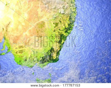 Southeast Coast Of Australia On Realistic Model Of Earth