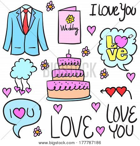 Illustration vector of wedding object doodles collection